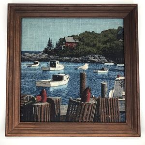 VTG Wood Framed Linen Print Nautical Boat Art R.B